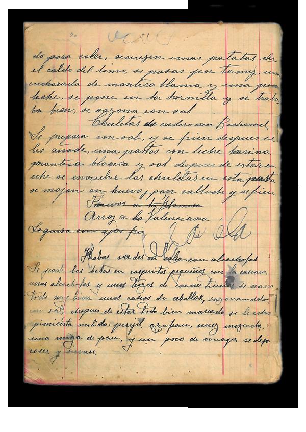 Receta manuscrita de chuletas de cordero con bechamel