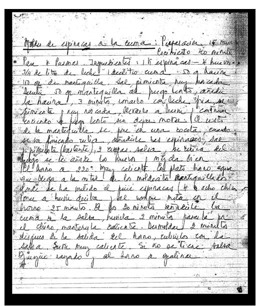 Receta manuscrita de Marili