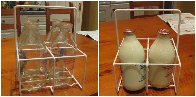 Botellas de leche vacías, botellas de leche llenas