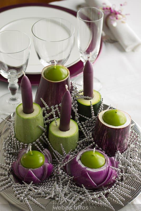 Centro de mesa de Navidad con verduras