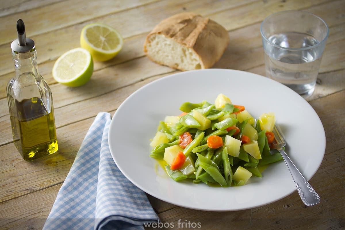 hervido de jud as verdes patata y zanahoria webos fritos