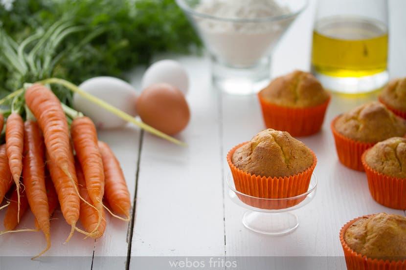 Magdalenas de zanahoria sin azucar