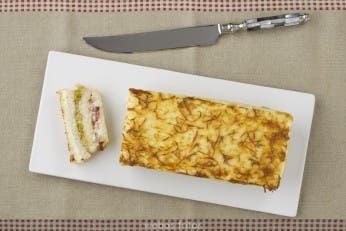 Croque cake de beicon y puerro