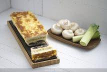 Croque cake de puerro y champinon