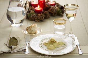 Ravioli de langostinos con salsa de champignon