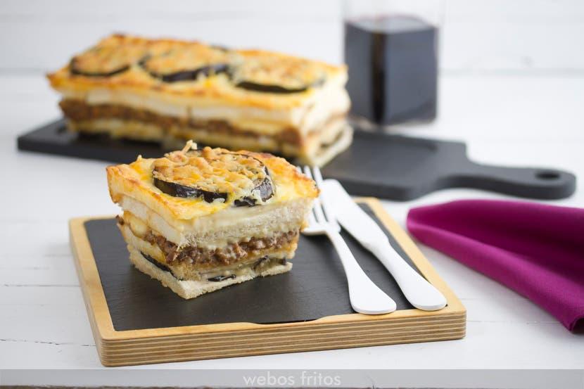 Croque cake de berenjenas