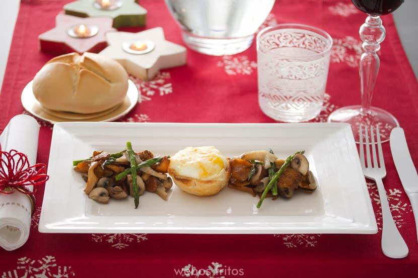 Tartaletas de huevo con setas