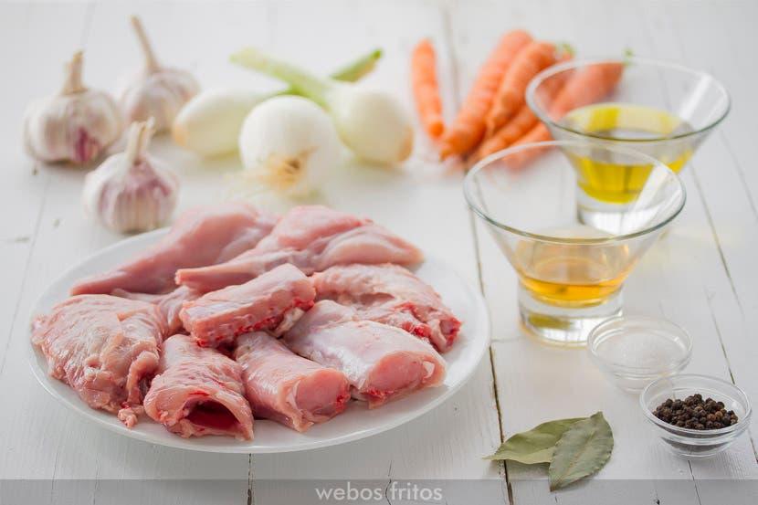 Ingredientes para el conejo en escabeche