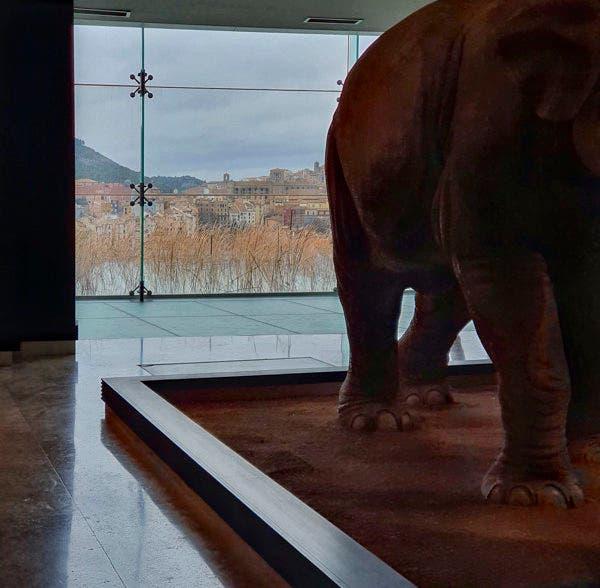 Interior de las salas del Museo Paleontológico de Castilla La Mancha, con Cuenca al fondo